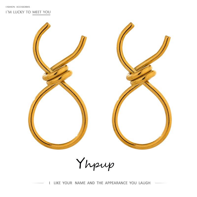 Yhpup bildirimi kravat Metal saplama küpe 316L paslanmaz çelik altın 18 K geometrik küpe takı aksesuarları parti hediye 2021