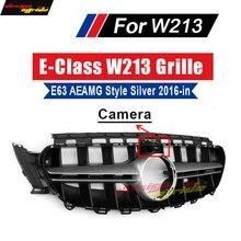 W213 AEAMG Style With Camera Sports Bumper For E-Class E63 E200 E250 E300 E350 E400 E500 Black Front Racing Grille 2016-in