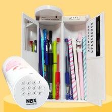 Newmebox 비밀 번호 연필 케이스 만화 패턴 펜 홀더 대용량 편지지 상자 코딩 된 잠금 홈 오피스 학교 스토리지 가방