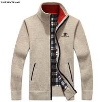 Зимний мужской толстый свитер на молнии с подкладкой и высоким воротником 1