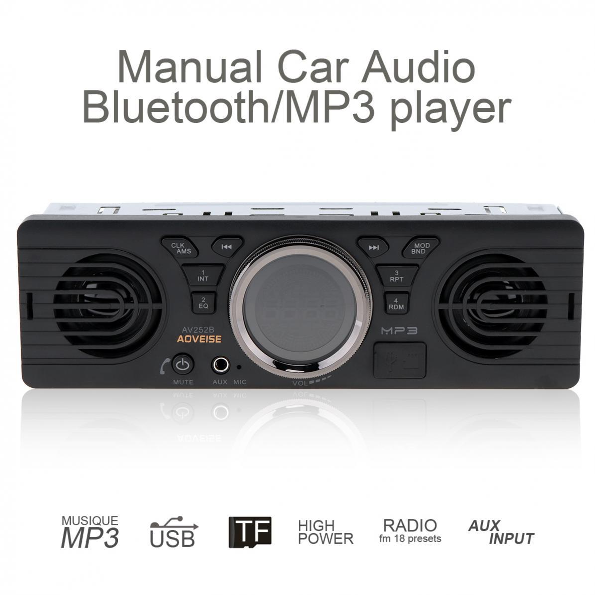 AOVEISE AV252B Bluetooth Transmitter Car FM Mp3 Player 12V Car Dual Horn MP3 Audio Player Vehicle Stereo Support FM/USB/AUX