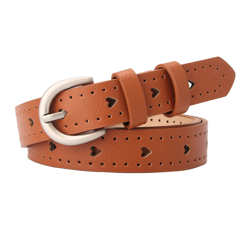 Hollow Out Alloy Pin Buckle Women Leather Belt For Jeans