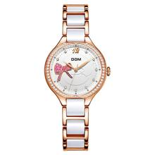 Fashion Women Diamonds Wrist Watches DOM Ceramics Watchband Top Luxury Brand Dress Ladies Geneva Quartz Clock G-1271G-7MH sinobi fashion women s diamonds wrist watches silicone watchband top luxury brand ladies geneva quartz clock females hours 2017