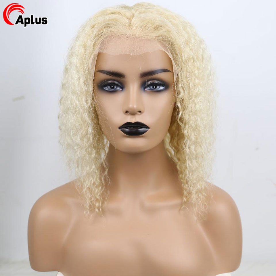 613 curly short bob wig honey blonde 13x4 lace front human hair wigs kinky curly colored peruvian remy hair 150% 180% density