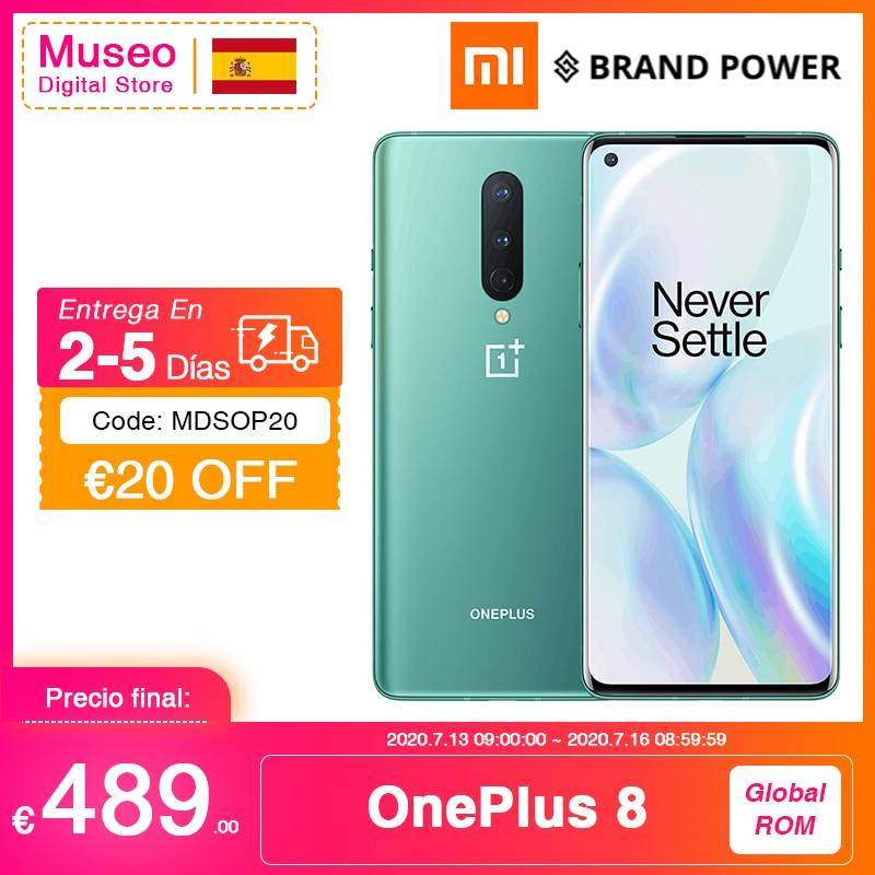 Rom global oneplus 8 5g smartphone snapdragon 865 octa núcleo 6.55 90 90 90hz amoled tela 48mp triplo cams 4300mah urdidura carga 30t