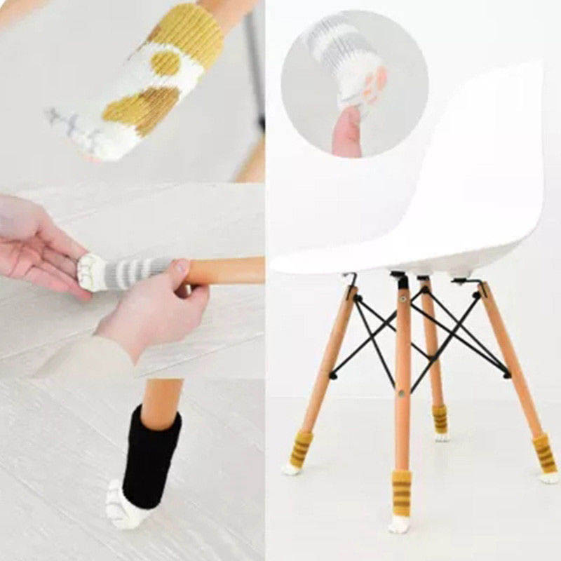 4Pcs Furniture Chair Leg Cover Pad Anti-slip Floor Knitting Sock Table Feet Mat SEP99