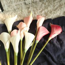 Sztuczne sztuczne kwiaty liść Calla kwiaty na ślub bukiet dekoracje na domowe przyjęcie sztuczne kwiaty akcesoria цветы @ D tanie tanio Artificial Decoration Kwiat Oddział Walentynki Z tworzywa sztucznego flores artificiales plantas artificiales paper flowers
