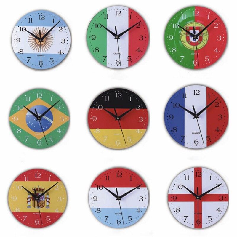 Wall Clocks Creative World Cup Flag Wooden Clock Mute Sports Wall Clock Needle Quartz Wall Hanging Clock Living Room Home Decor