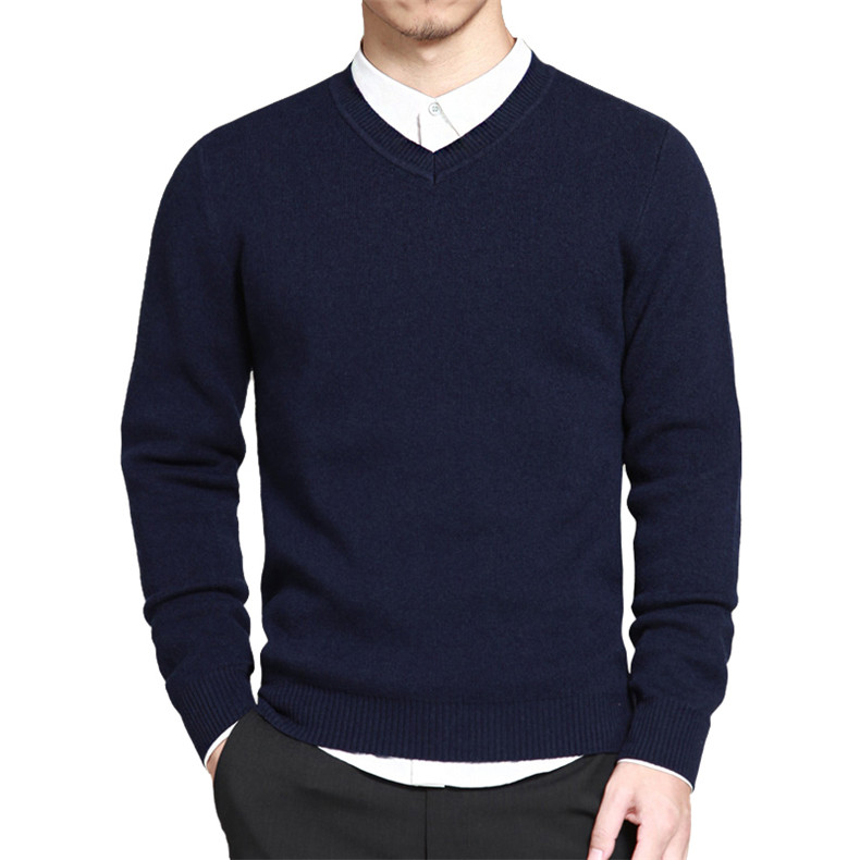 Slim Sweater Pollovers Men Casual Cotton Sweater Jumper Pullover Male Business V-Neck Knitwear Jersey Man Plus Size 4XL Black 01