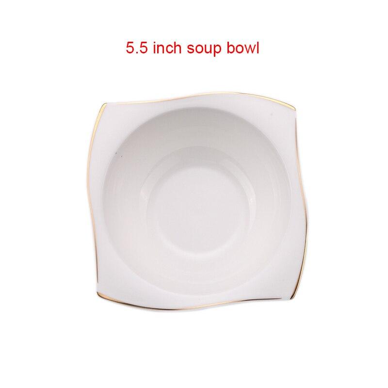 YeFine vaisselle en porcelaine à os avancé | Assiettes à dîner carrées plats de haute qualité service de vaisselle en céramique blanche bols à soupe - 6