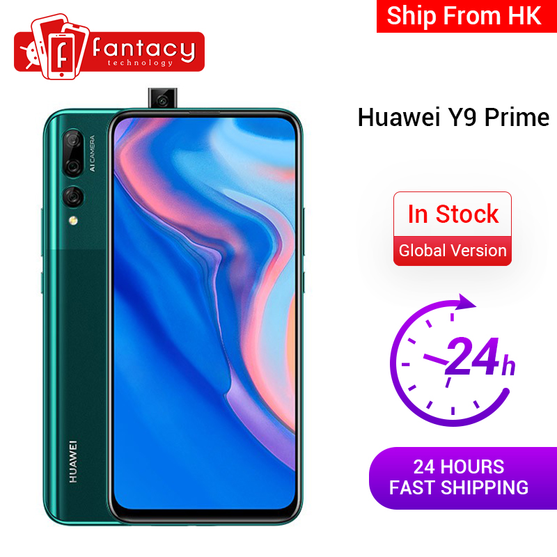 In Stock Global Version Huawei Y9 Prime 4GB 128GB Smartphone AI Triple Rear Cameras Auto Pop-Up Front Camera Cellphone