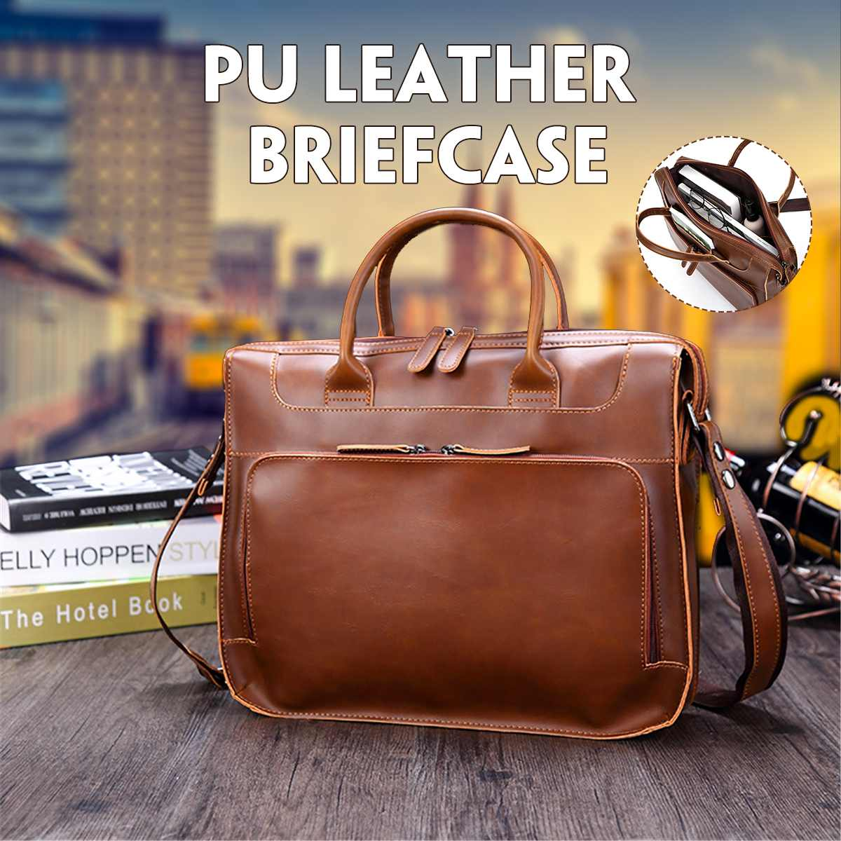 PU Leather Briefcase Mens Fashion Retro Leather Handbags Crossbody Bags Men's High Quality Luxury Business Messenger Bags Laptop