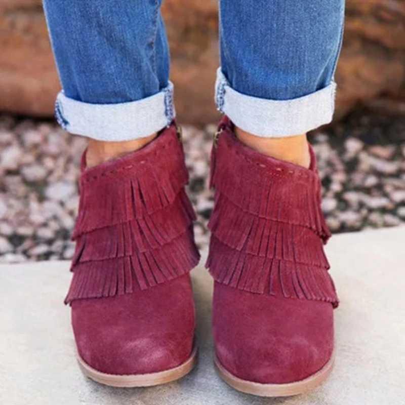 MoneRffi sonbahar kadın şort çizmeler sivri burun düşük topuk yan fermuar saçaklı Retro moda püskül ayak bileği patik parti ayakkabıları elbise