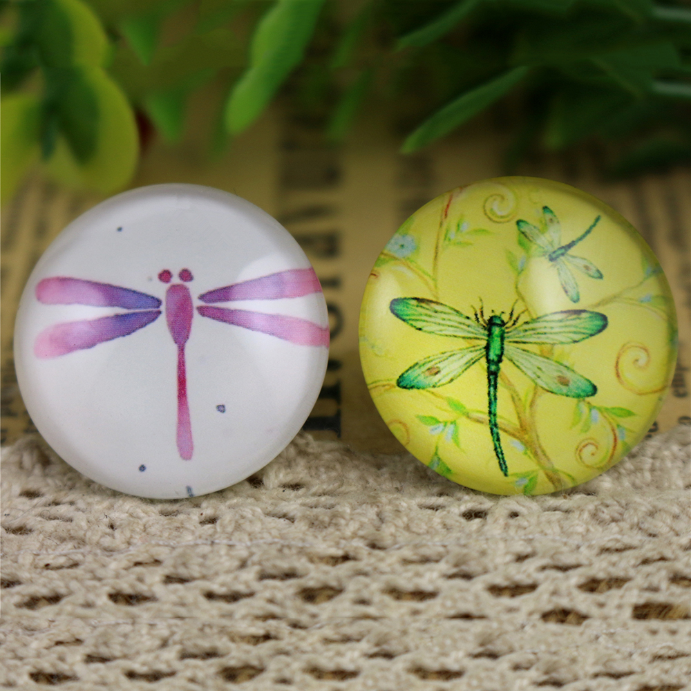 Hot Sale 5pcs/Lot 25mm Handmade Photo Glass Cabochons (Dragonfly)
