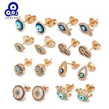 Boucles d'oreilles Lucky Eye en Zircon bleu mauvais œil de Fatima, petites boucles d'oreilles de couleur or argent pour femmes et filles, bijoux à la mode BD423