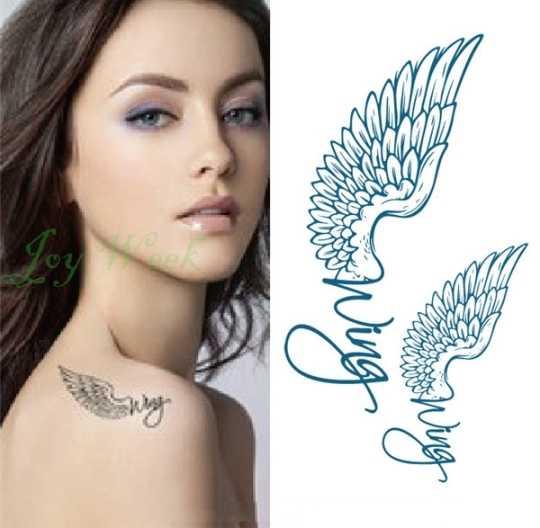 Wodoodporna tymczasowa naklejka tatuaż skrzydła pióro mały Element fałszywy Tatto Flash tatuaż ręka ramię skrzynia sztuki dla dzieci mężczyzn kobiet
