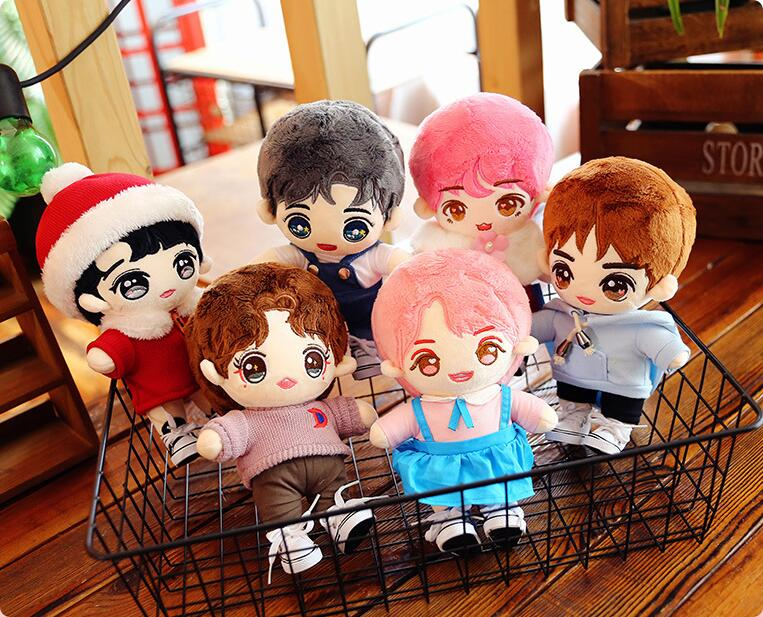 25cm Cartoon Plush Doll Cute Kpop Boy Doll Filled Plush Pillow Soft Toy Star Plush Doll With Clothing Accesories Christmas Gifts