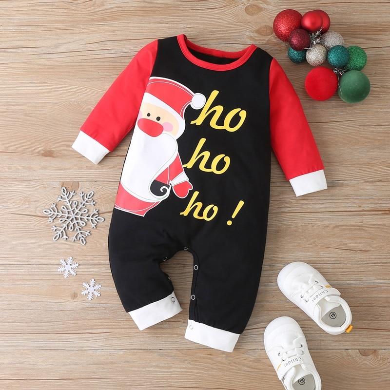 Christmas clothes baby boy cotton santa claus letter patchwork