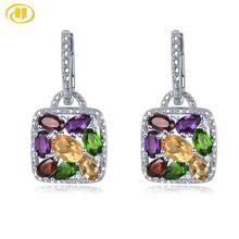 Hutang Multi Gemstone Hoop Earrings Natural Citrine Garnet Amethyst Solid 925 Sterling Silver Fine Elegant Jewelry for Women New