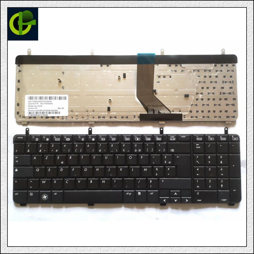 French Azerty Keyboard For HP PAVILION DV7-2000 DV7-2100 DV7-2200 DV7-3000 DV7-3100 Dv7t-3000 AEUT3N00260 UD3A FR