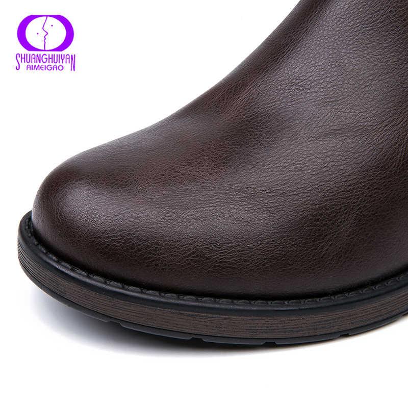 Aimeigao Ấm Fleeces Mắt Cá Chân Giày Mùa Đông Mềm Da Khóa Kéo Nâu Giày Nữ Thấp Gót Chống Thấm Nước Giày Dép Đế Phẳng Boot