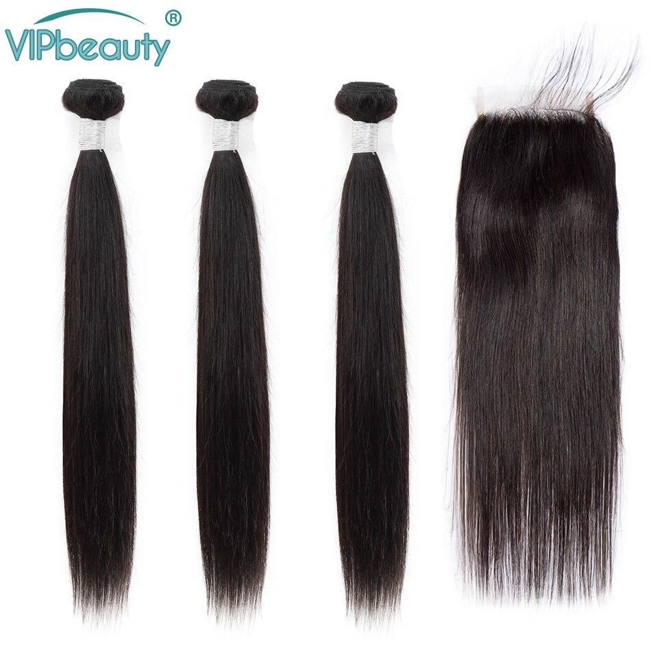 Human Hair Bundles With Closure Vip Beauty Straight Peruvian Hair Bundles With Closure Human Hair Bundles  Remy Hair