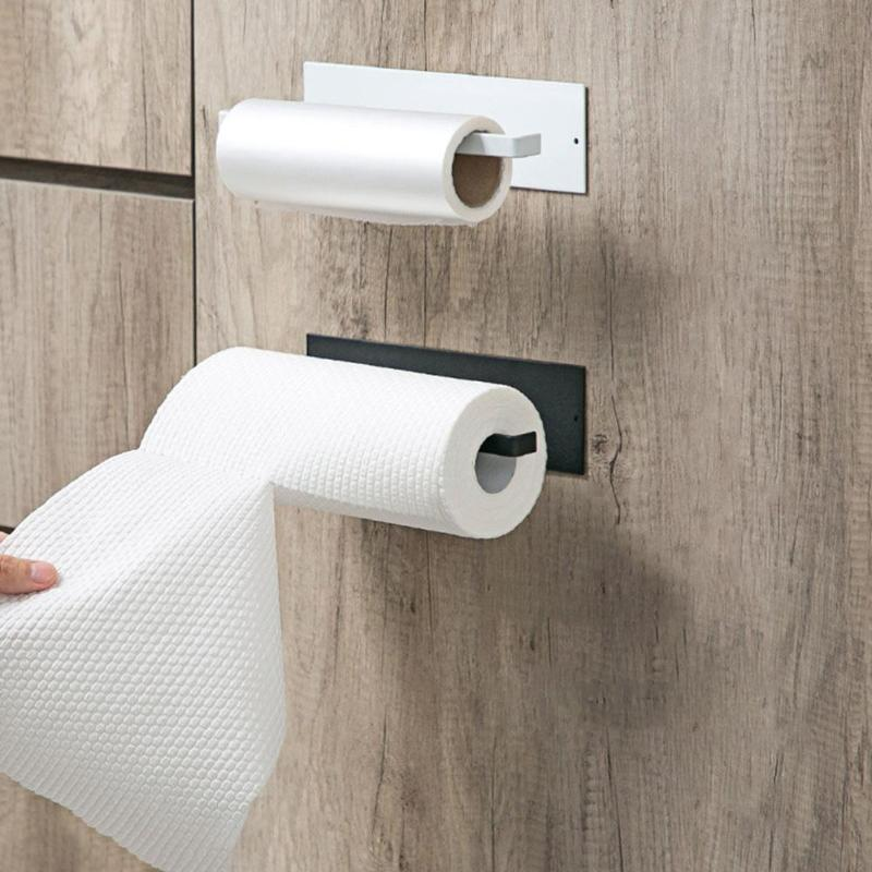 Protable Toilet Kitchen Roll Paper Holder Stick Towel Rack Wall-Mounted Modern Simplicity Bathroom Storage Accessories