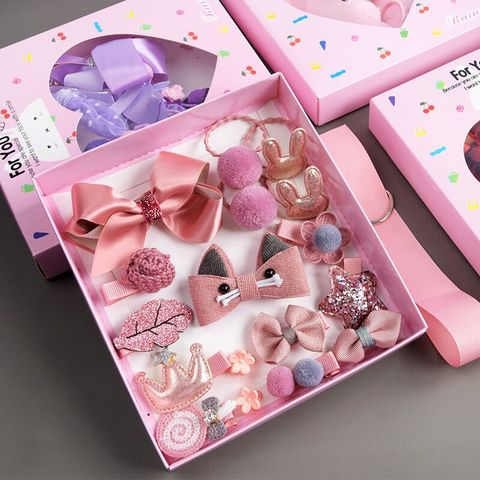 10/18Pcs/Gift Box Children Baby Cute Cartoon Flower Hair Clips Girl Sweet Fabric Soft Hairpins Barrettes Kids Hair Accessories Pakistan