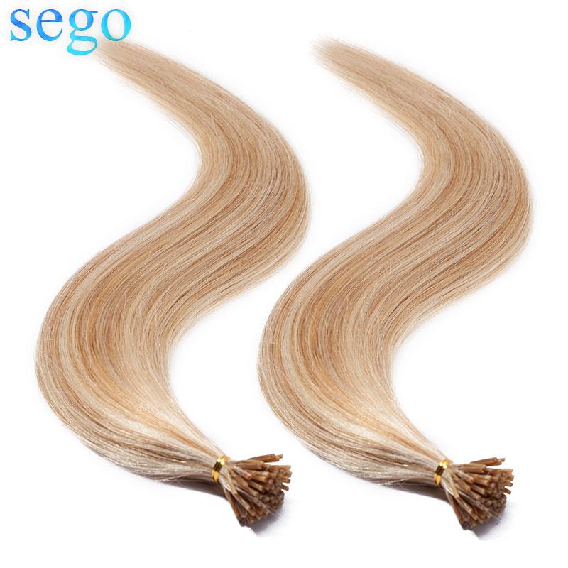 SEGO 16-22 дюйма 100 прядей не Реми I Tip 100% настоящие человеческие волосы палочка Кератин Предварительно Связанные волосы для наращивания прямые 0,...