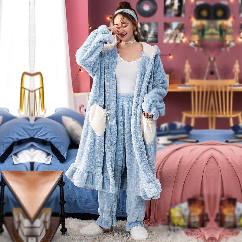 Hiver femmes Long pyjama ensembles automne femme à capuche ensemble de vêtements de nuit épais chaud à volants flanelle corail chemise de nuit