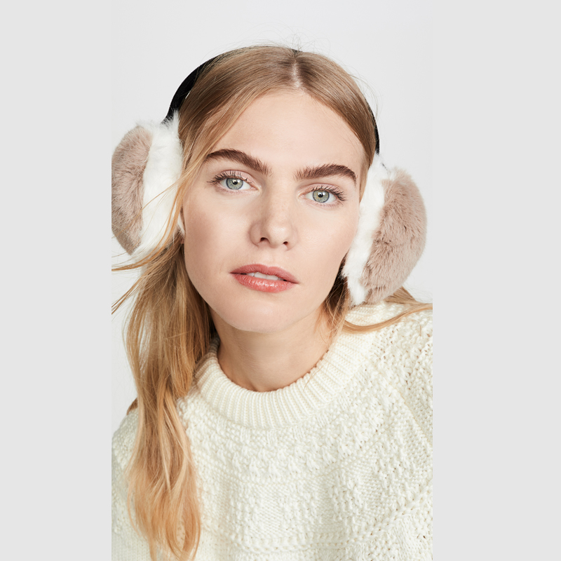 Rex Rabbit Fur Hang Ear Cover Warm Winter Earmuffs Female Real Rabbit Fur Earmuffs Cold Ear Warmer Fold Ear Protection Headband