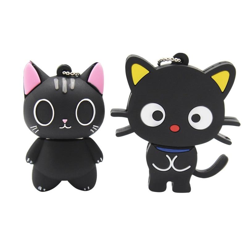 TEXT ME Cute Cartoon Black Cat  Usb2.0 64GB  Usb Flash Drive Usb 2.0 4GB 8GB 16GB 32GB  Pen Drive