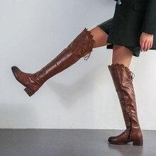 цены на women over the knee high boots low heels autumn lace up shoes woman vintage booties wxz149 в интернет-магазинах