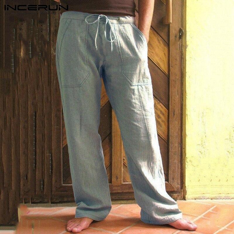 INCERUN Vintage Men Casual Cotton Pants Solid Color Loose Pockets Drawstring Joggers Streetwear Sweatpants Workout Trousers Men