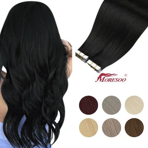 Moresoo лента для наращивания волос 26 28 дюймов клей на натуральной
