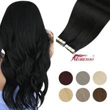 Moresoo Band in Menschliches Haar Extensions 26 zoll 28 Zoll Kleber auf Natürliche PU Maschine Remy Blonde Haar Stück für frauen Gerade
