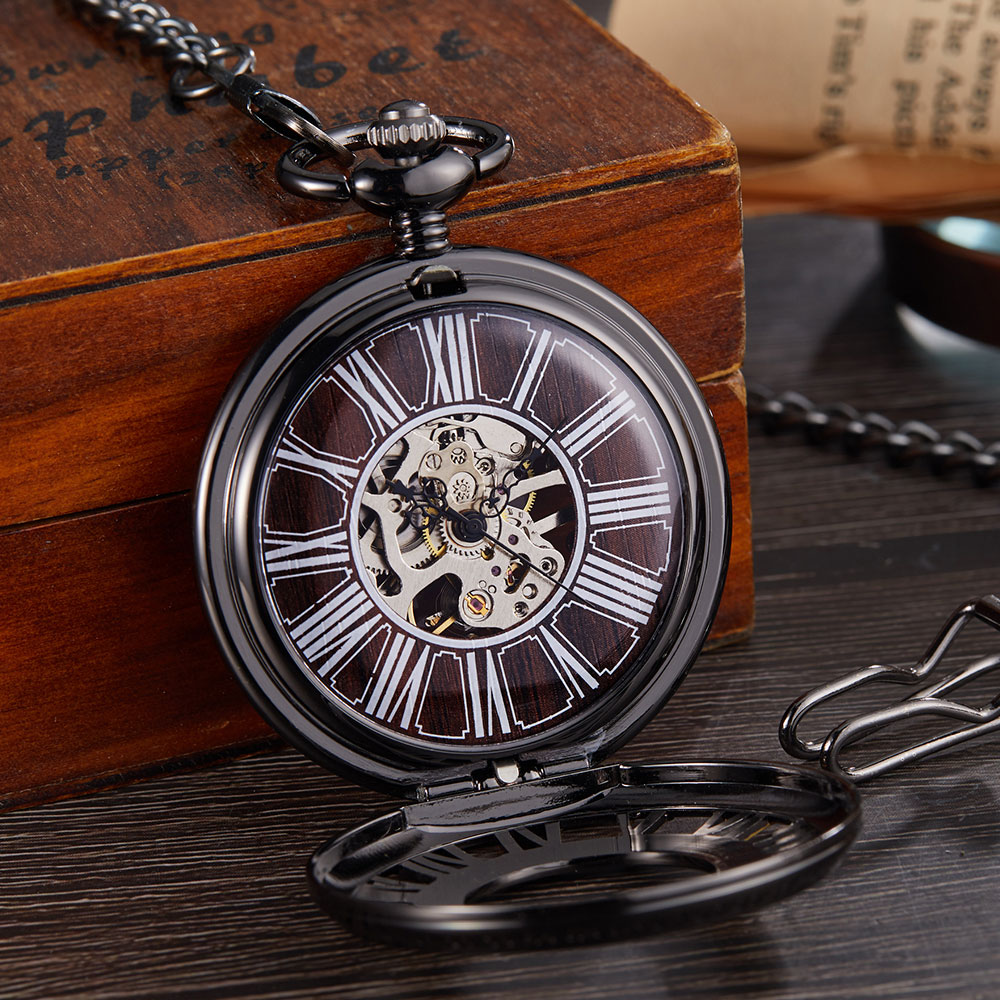 Vintage Mechanical Pocket Watch Men Women Roman Numerals Bronze Wood Hollow Fob Chain Hand Wind Steampunk Clock Skeleton Watch