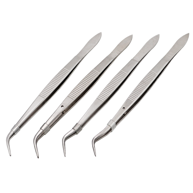 3pcs Stainless Steel Dental Tweezers Surgical Serrated Curved Tweezer Pincers Forceps 4/Four Sizes Teeth Whitening Dentist Tools
