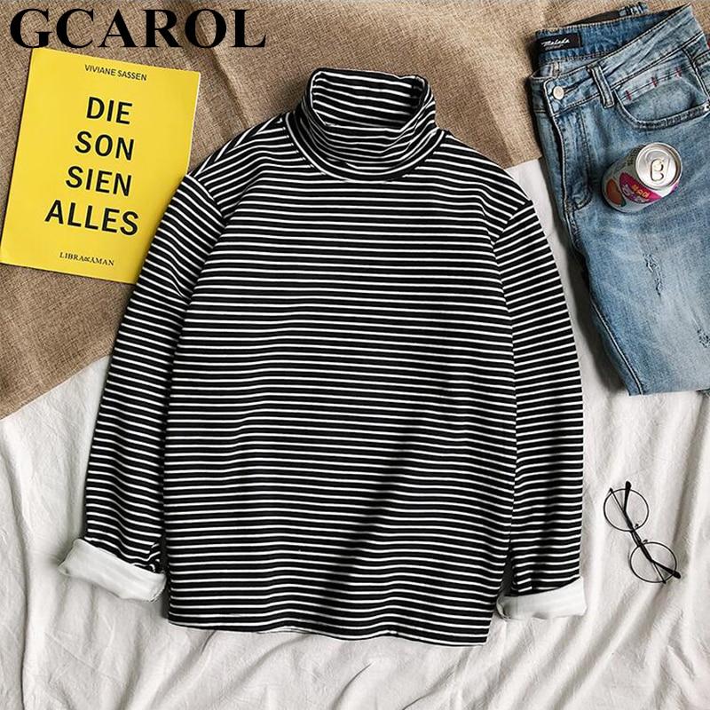 GCAROL 2019 Fall Pinstripe Striped Turtleneck Shirt Winter Thick Fleece Oversize Jumper Render Basic Tops Unlined Upper Garment