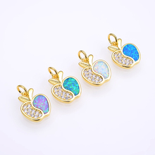 KAMAF Brass microscope AAA cubic zircon mixed color opal ms apple charm pendant necklace jewelry accessories
