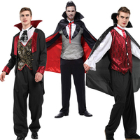 Man Halloween Vampire Costumes Fancy Scary Ghost Devil Performance Party Wear Gothic Count Prince Cloak Masquerade Clothing