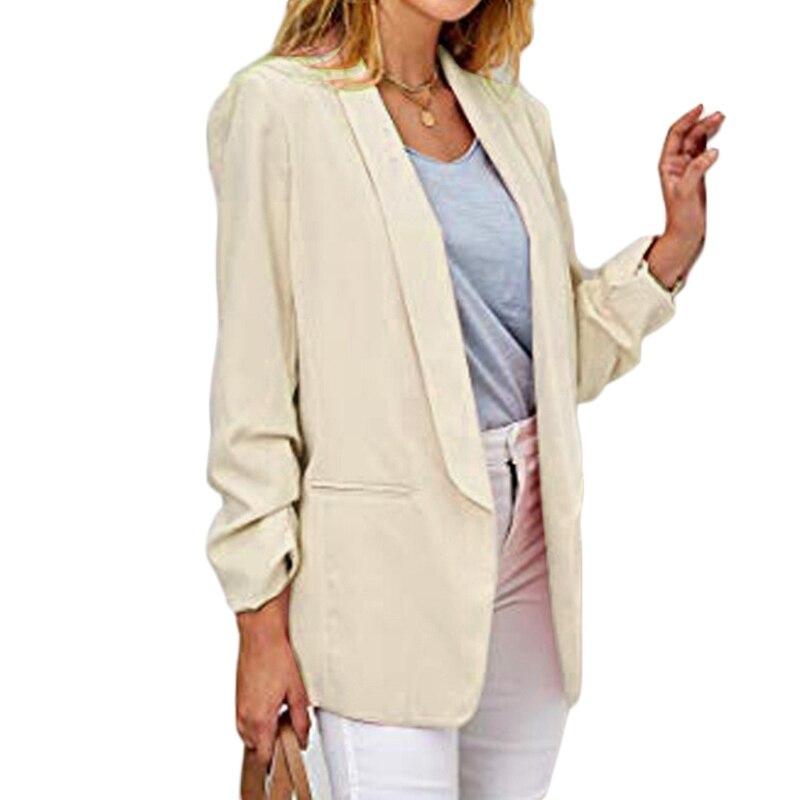 2020 New Fashion Blazers Jacket Women Casual Pockets Long Sleeve Work Suit Coat Office Lady Solid Slim Blazers Cardigan