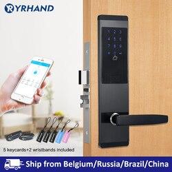 Ttlock Aplikasi Keamanan Kunci Pintu Elektronik, Aplikasi Wifi Smart Touch Layar Kunci kode Digital Keypad Gerendel untuk Rumah Hotel Apartment