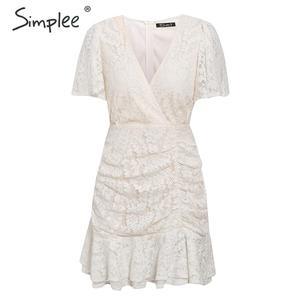 Image 5 - Simplee estate Delle Donne abito di pizzo Sexy con scollo a v floreale del cotone di estate abito bianco di A line delle signore chic primavera coulisse vestito da partito