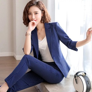 2020 summer ladies skirt suit set Casual office wear Slim fit striped Women blazer Slim fit trousers Elegant skirt high quality