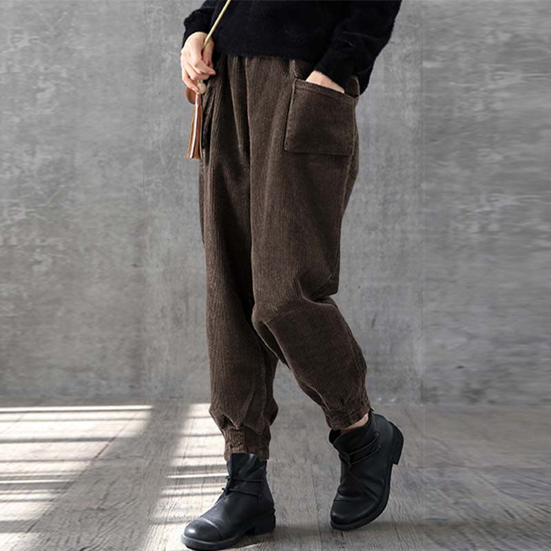 ZANZEA Vintage Women Harem Trouser Female 2019 Autumn Corduroy Pants Casual Straight Pants Winter High Waist Trousers Plus Size