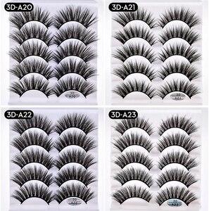 Image 4 - Pestañas postizas de pelo de visón, 1/5/10 pares, esponjosas/gruesas, pestañas largas, finas, naturales, maquillaje de belleza para los ojos, herramientas de pestañas de imitación