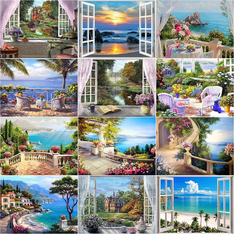 RUOPOTY 5D DIY Diamond Painting Full Square Landscape Window Diamond Embroidery Cross Stitch Sea Mosaic Home Decor