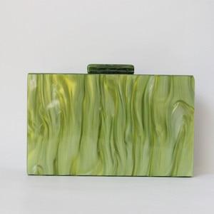 Image 3 - Brand Fashion Designer Women New Acrylic Green Beige Patchwork Evening Bag Luxury Party Handbag Woman Casual Box Clutch Purse