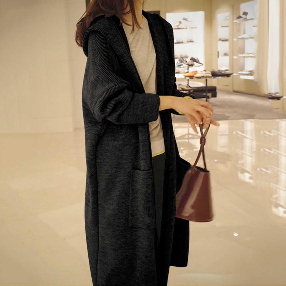 여성 자 켓 솔리드 컬러 긴 카디 건 가을 겨울 캐주얼 니트 여성 큰 어깨 겨울 자 켓 후드 스웨터